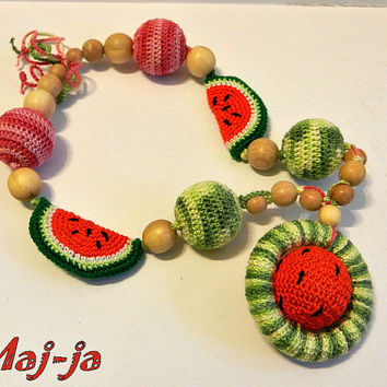 Fashion crochet necklace **Baby toy** Watermelon ** Beads from Juniper * Eco Necklace Crochet