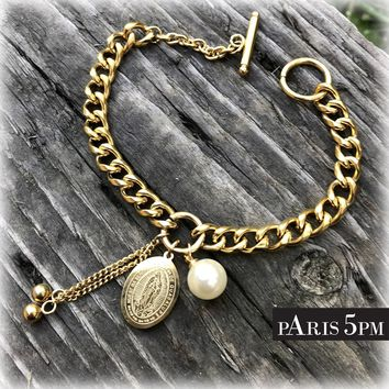 Gold Plated Virgin Mary Medal and Pearl Charm Bracelet
