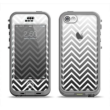 The White & Gradient Sharp Chevron Apple iPhone 5c LifeProof Nuud Case Skin Set