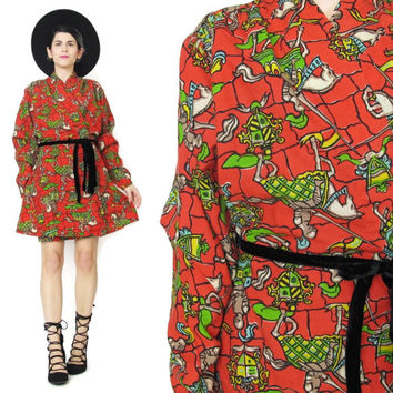 1960s Novelty Print Dress Long Sleeve Wrap Dress Medieval Knights Horse Print Dress Wrap Front Kimono Dress Winter Wool Dress Mini (S/M)