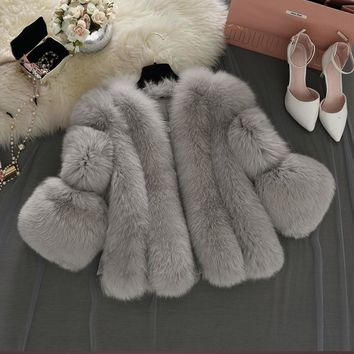 Uwback Faux Fur Gilet colete pel 2017 New Winter Pink Faux Fur Coat Waistcoat Plus Size 4XL Furry Thick Faux Fur Jacket TB1283