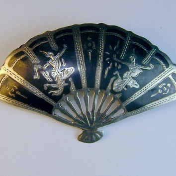 Vintage Siam Sterling Niello Fan Brooch with Thunder and Lightning God and Goddess