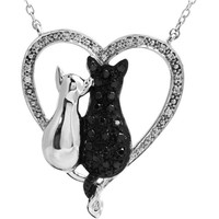 "ASPCA Tender Voices® Sterling Silver Black & White Diamond Cats Heart 18"" Necklace"