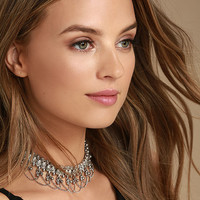 Mesmerize On You Silver Choker Necklace