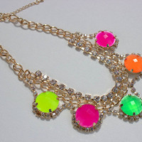 Neon Statement Necklace , JCrew Inspired Necklace, Neon Bib  Necklace, Wedding Party Necklace, Bib Statement Necklace