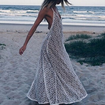 Halter Maxi Long Beach Lace Dress Backless Design