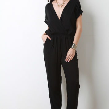 Solid Surplice Short Sleeve Jumpsuit