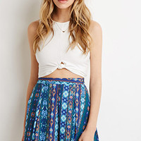 Southwestern Print Pleated Skirt