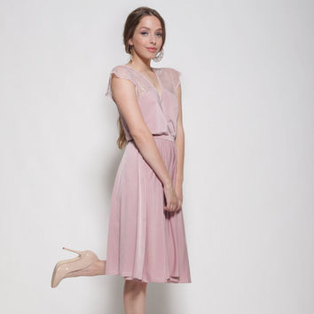 Blush dress knee length, lace at the top and sleeves ,bell shape skirt