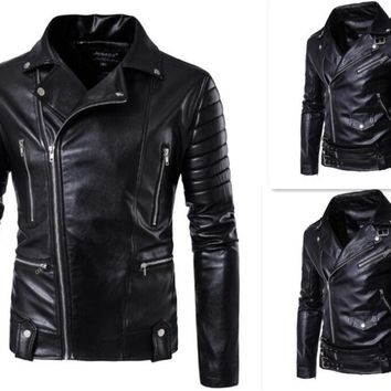 Hot 2017 Men's autumn winter brand rock leather jacket, motorcycle jacket, men leather clothes Slim mens leather jacket Coats