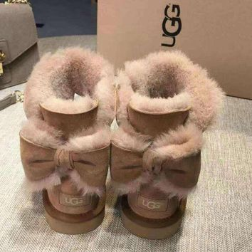 UGG' Fashion Winter Women Cute Bowknot Flat Warm Snow Ankle Boots