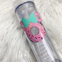 Personalized Disneyworld Skinny Tumbler/Disney Princess Cup/Minnie Mouse Gift/Disney Food Acrylic Clear Tumbler/Disneyland Cup/Donut