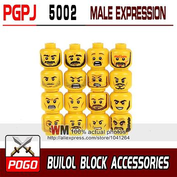 16Pcs/Set Building Blocks Face Emoji Expression Yellow Skin Color Cool Man Boy DIY Bricks Toys PGPJ5002 PGPJ5003