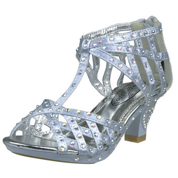 Kids Dress Sandals T-Strap Rhinestone Laser Cutou High Heel Shoes Silver SZ
