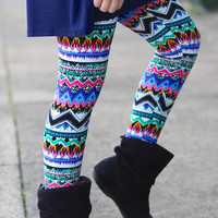 Girls Zig Zag Tribal Mix Leggings