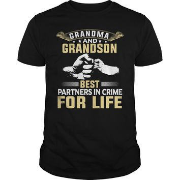Grandma and Grandson best partners in crime for life shirt Premium Fitted Guys Tee