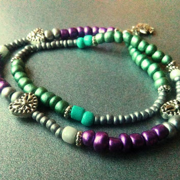 Beaded Seed Bracelet - Boho Stretch Bracelet - Adjustable Double Wrap Bracelet - Purple Teal Grey Sweet Bracelet - Bohemian Bead Bracelet