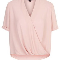 TALL Drape Front Blouse - Dusty Pink