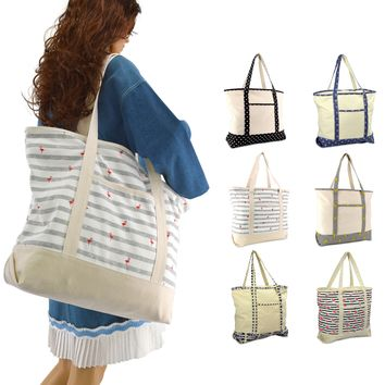 "DALIX 22"" Shopping Tote Bag in Heavy Cotton Canvas (Special Pattern Edition)"