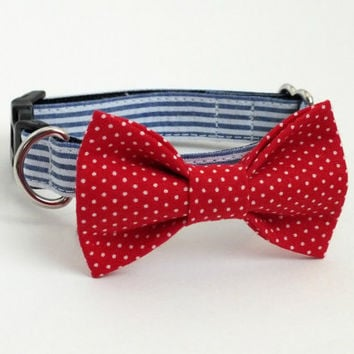 Seersucker Dog Collar Bow Tie set with Red Pin Dot Bow