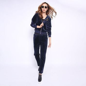 Juicy Couture Fw2017 Velour Tracksuit 2pcs Studded Paddy Juicy Logo Women Suits Navy Blue
