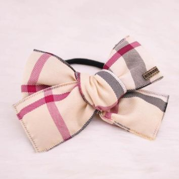 Burberry hot sale women new fashion tartan bow knot hair rope hair accessories