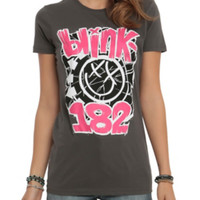Blink-182 Pink & Black Smiley Girls T-Shirt