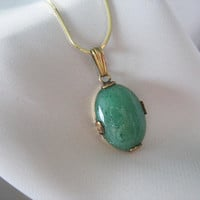 "Aventurine Pendant Necklace, Green, 14k Gold, Snake Chain, 12kGF Setting, Linear, 15"", Gemstone, Oval, Good Quality"
