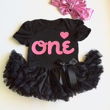 First Birthday Outfit - Black and Pink Tutu & Pink Bow Headwrap, baby first birthday, baby girl 1st birthday outfit, smash cake outfit