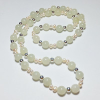 New Jade, Freshwater Pearl and Sterling Silver Necklace