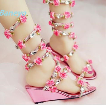 Plus Size 30~45 Rhinestone Sandals Fairy Summer Flower Sandals Sexy Snake Winding Sandals High Heels Rome Wedges Woman Shoes