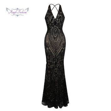Angel-fashions Vintage Gatsby Party Sequin Mermaid Long Evening Dress Abendkleid 381