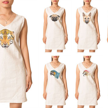 Animals in geometric pattern style Printed Vintage Linen Mini Shift Dress WDS_02