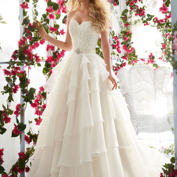 Morilee Bridal Madeline Gardner Venice Lace Appliqués on the Asymmetrically Tiered, Organza Wedding Dress | Style 6817 | Morilee