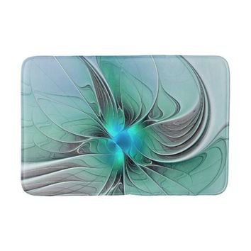 Abstract With Blue, Modern Fractal Art Bathroom Mat