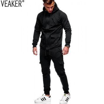 2018 Autumn New Men's overalls Tracksuit Set Male Cargo Pants Hoodies Sets High Street Black Hooded Sweatshirt Sweatpants M-3XL
