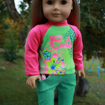 18 inch doll clothes, graphic print top, cute floral long sleeve top, green denim skinny jeans , american girl ,maplelea