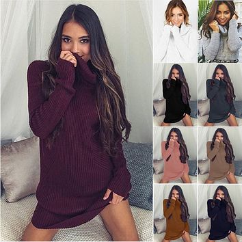 Sexy Turtle Neck Pure Color Long Sweater