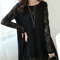 Black Sheer Lace Long Sleeve Shift Dress