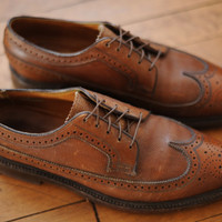Vintage Florsheim Imperial Brown Leather Wingtip Dress Shoes mens 8