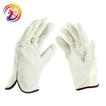 OLSON DEEPAK Cow Leather Factory Driving Gardening Handling Industry Work Gloves  HY006