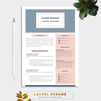 Elegant Résumé Template. 2 Pages Resume + Cover Letter + 1 page References + CV + doc template