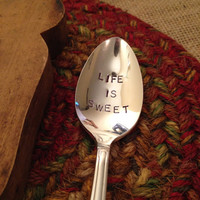 Hand Stamped Tea Spoon, Stamped Coffee Spoon, Hand Stamped Silverware, Hostess Gift, Christmas Gift, Best Friend Gift, Housewarming Gift