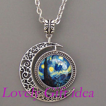 DOCTOR WHO TARDIS Necklace Dr Who jewelry,moon necklace,Starry Night,Tardis necklace,Tardis Jewelry,Van Gogh Oil painting,silver/bronze
