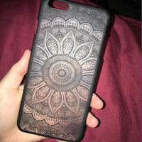 Black Hollow Out Lace Flower Case