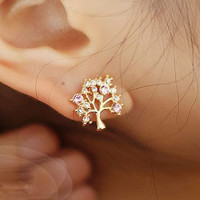 Fashion casual shiny rhinestones happiness tree earrings
