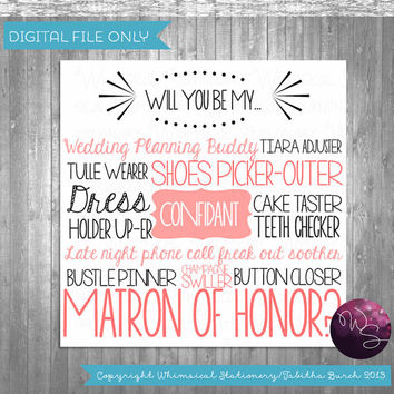 "Ask Matron of Honor Proposal Cards - ""Cake Tasting (Printable File Only) Ask Bridesmaid Be In My Wedding"