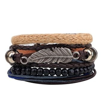 2017 Tree Leaves Bracelet Handmade Calfskin Hemp Wood Beads Woven Rope Multi - Root Combination Women Men Bracelet
