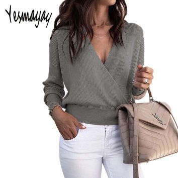 Autumn Winter Sweater Women Pullover Knitted Cross Sexy Long Sleeve Pull Femme Hiver 2018 Solid Black Deep V Neck Sweater Women