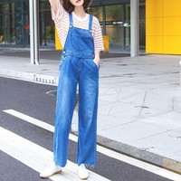 2017 women clothing solid color sleeveless washed denim overalls Rompers Female brief casual loose wide leg jeans jumpsuits 6053